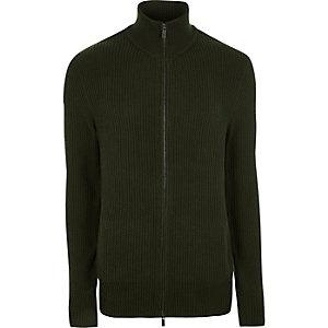 Donkergroene geribbelde pullover met rits en hoge nek