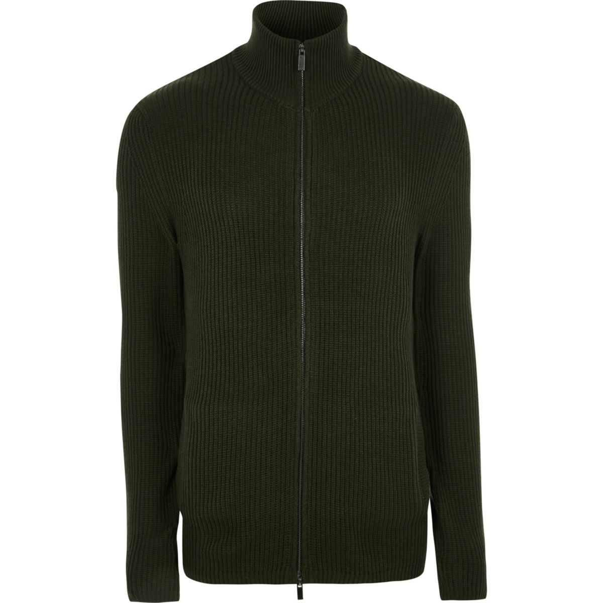 Dark green ribbed funnel neck zip-up jumper
