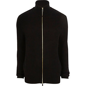 Black rib knit funnel neck zip front cardigan