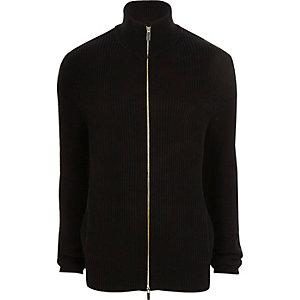 Cardigan en maille côtelée noir à col cheminée zippé