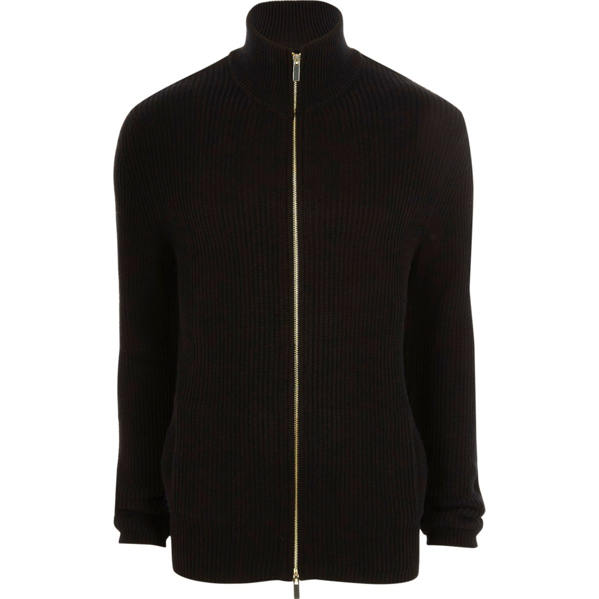 Black rib knit funnel neck zip front cardigan