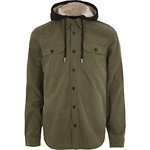 Khaki long sleeve borg lined hood shirt
