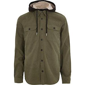 Khaki long sleeve borg lined hood shirt