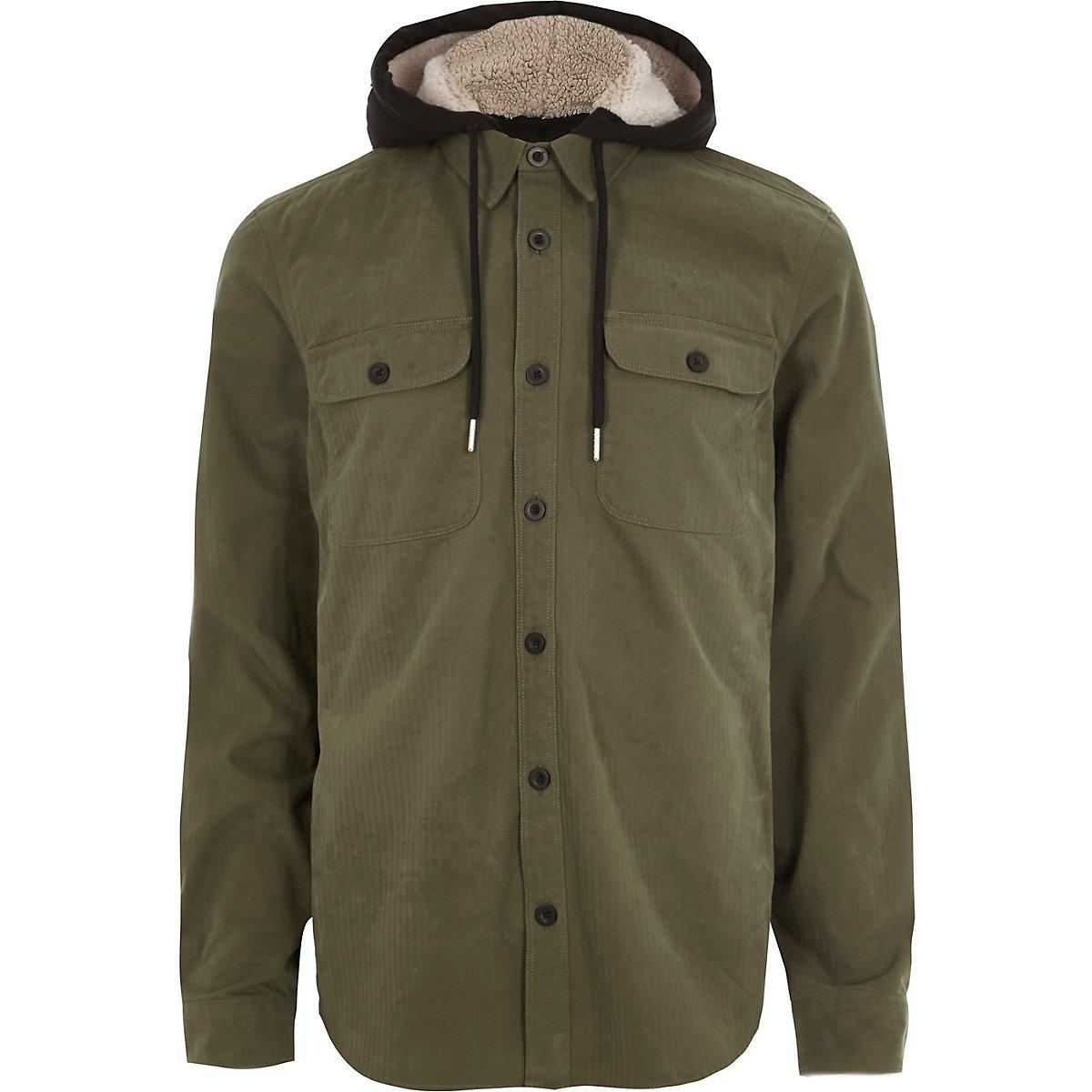 Khaki long sleeve fleece lined hood shirt
