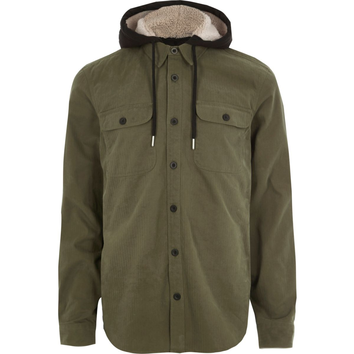 Khaki long sleeve fleece lined hood shirt
