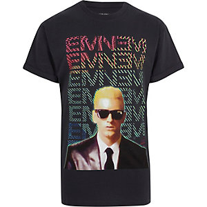 Black Eminem print short sleeve T-shirt