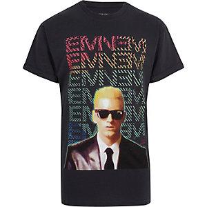 Zwart T-shirt met korte mouwen en Eminem-print
