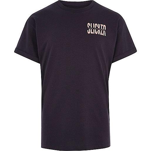Washed black 'slicker' print T-shirt