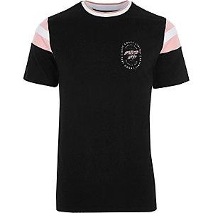 Black 'studio' chest print tipped T-shirt