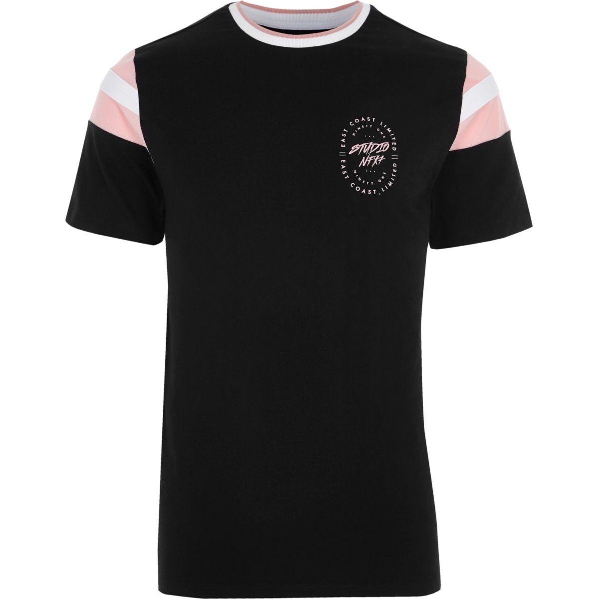 T-shirt noir imprimé «Studio» sur la poitrine à liseré