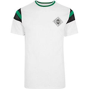 T-shirt blanc imprimé «Abstract» sur la poitrine à liseré