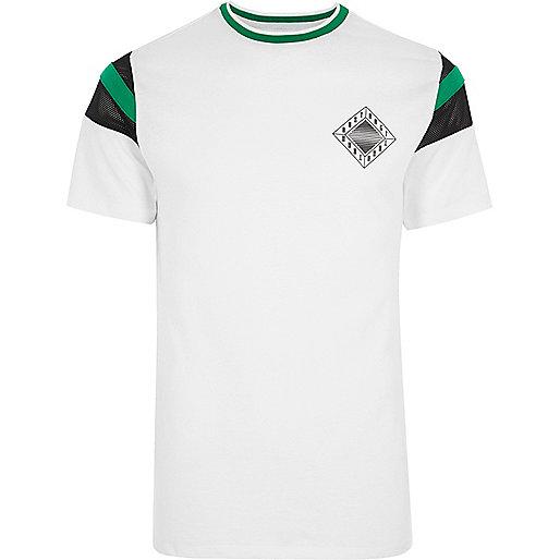 White 'abstract' chest print ringer T-shirt