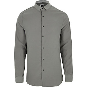 Chemise skinny grise texturée à manches longues
