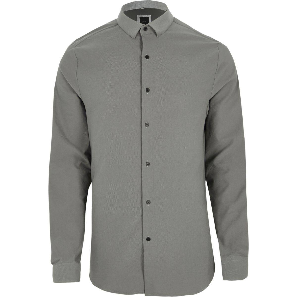 Grey textured long sleeve skinny fit shirt
