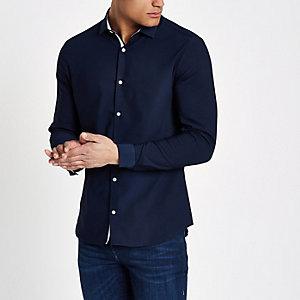 Marineblauw skinny-fit overhemd met textuur