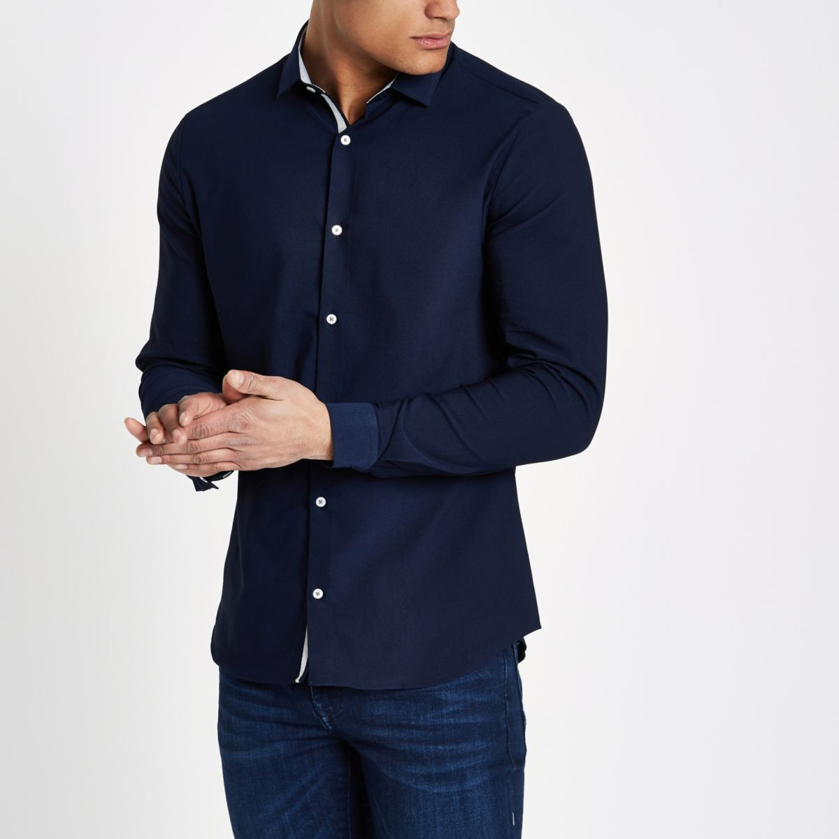 Navy textured skinny fit shirt