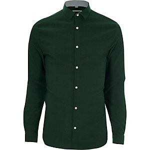 Green textured skinny fit shirt