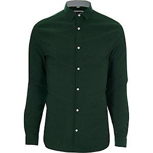 Groen skinny-fit overhemd met textuur