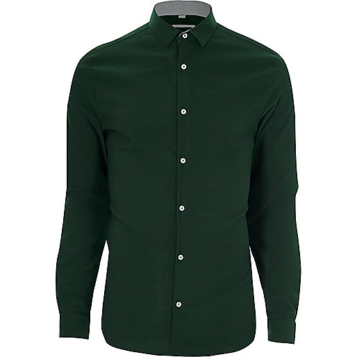 Green textured skinny fit shirt