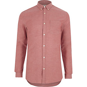 Red muscle fit Oxford shirt