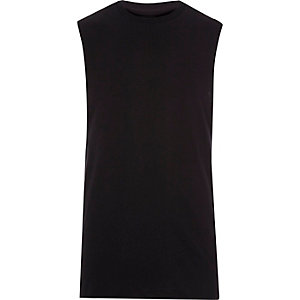 Black dropped armhole tank top