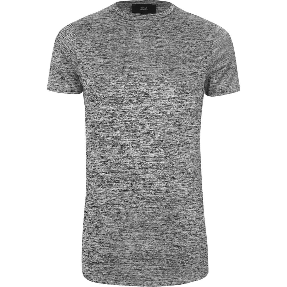 Grey marl muscle fit longline T-shirt