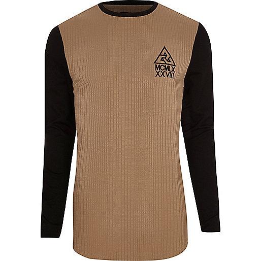 Tan contrast sleeve ribbed longline T-shirt