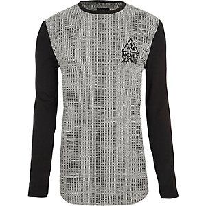 T-shirt ajusté gris chiné côtelé à manches longues