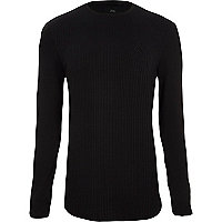 Black rib muscle fit long sleeve T-shirt