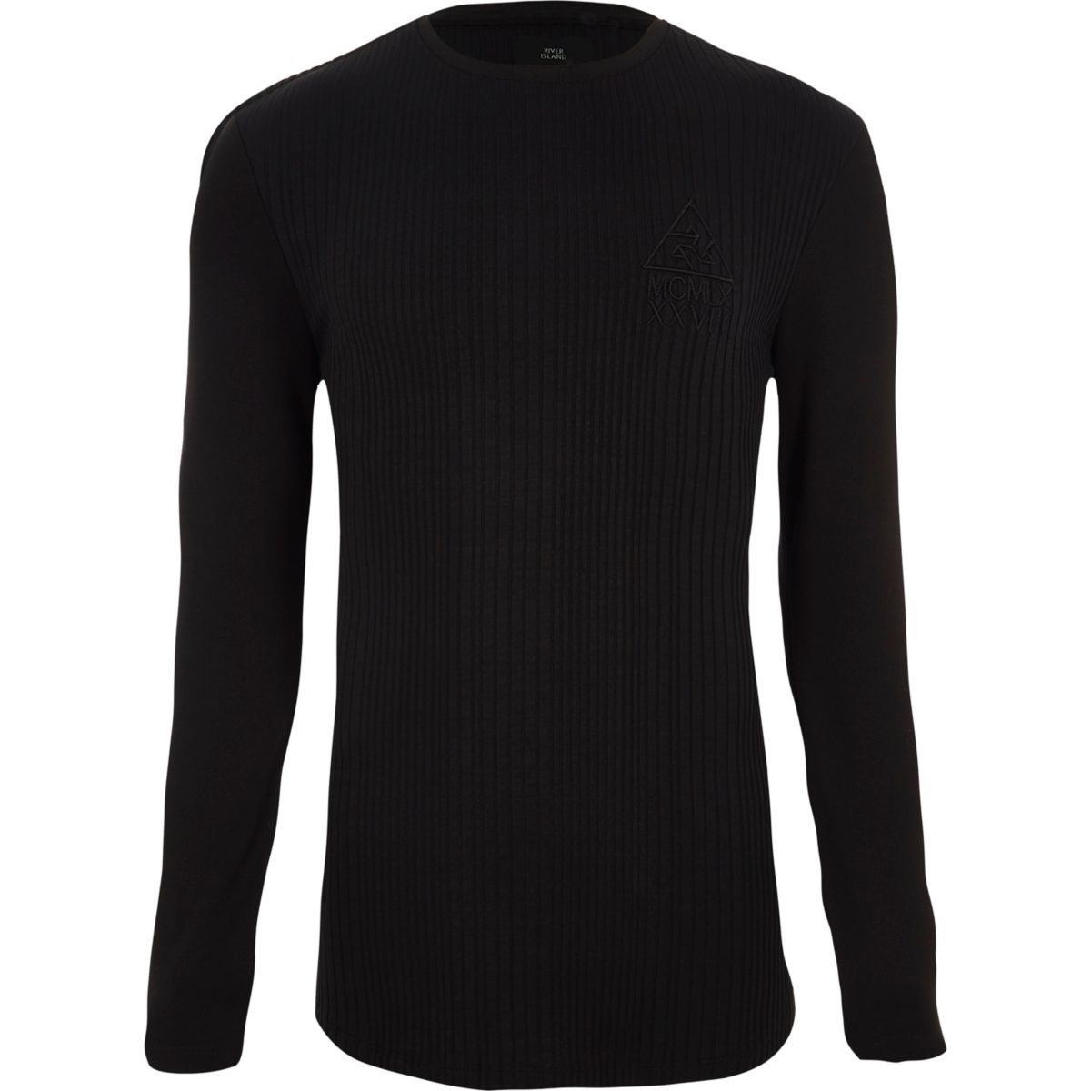 Black rib muscle fit long sleeve T-shirt
