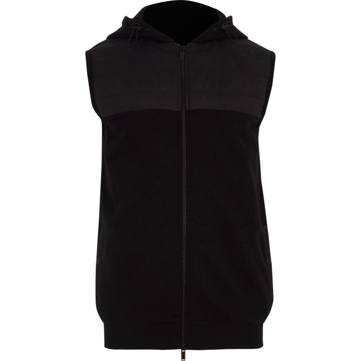 Black zip-up gilet