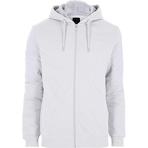 Light grey roman numeral sleeve hoodie