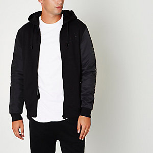 Zwart bomberjack met hoodie en rits