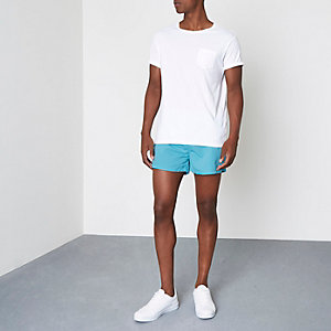 Bright blue short swim shorts