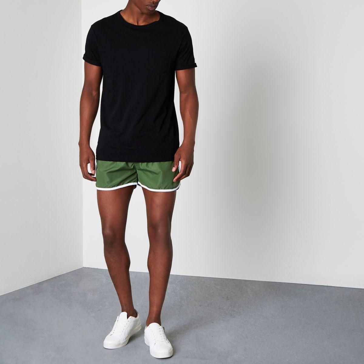 Green runner swim shorts