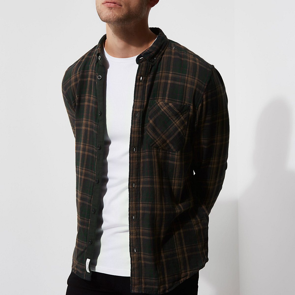 Green double face check long sleeve shirt