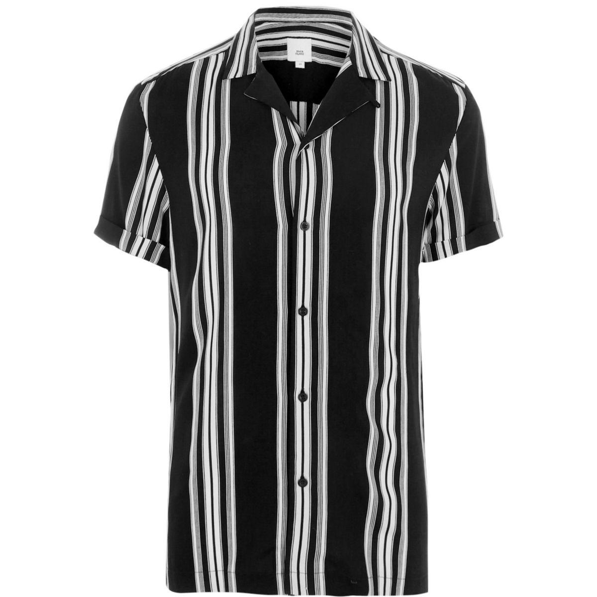 Black mono stripe short sleeve casual shirt