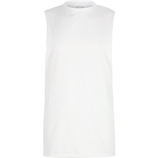 White dropped armholes tank top