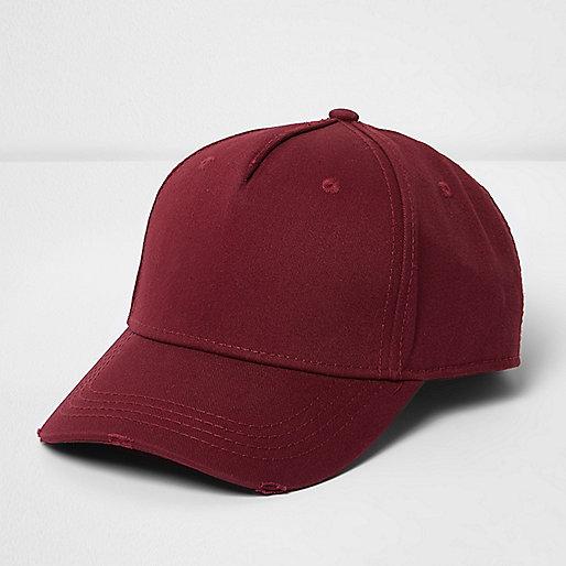Red distressed baseball cap