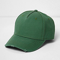 Casquette de baseball verte aspect usé