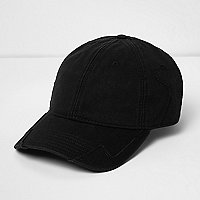 Black distressed baseball cap