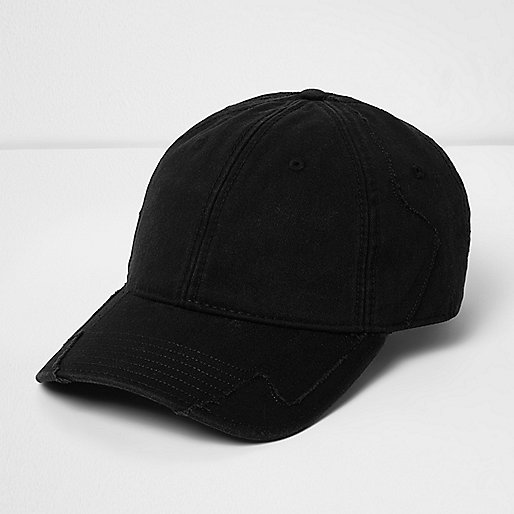 Black distressed baseball cap