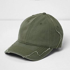 Grüne Baseball-Kappe im Used-Look