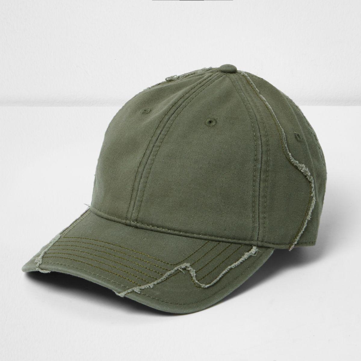 Green distressed baseball cap
