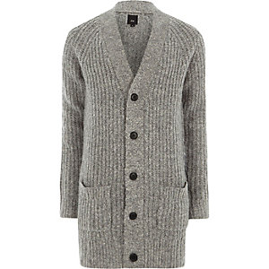 Grey long sleeve longline knit cardigan