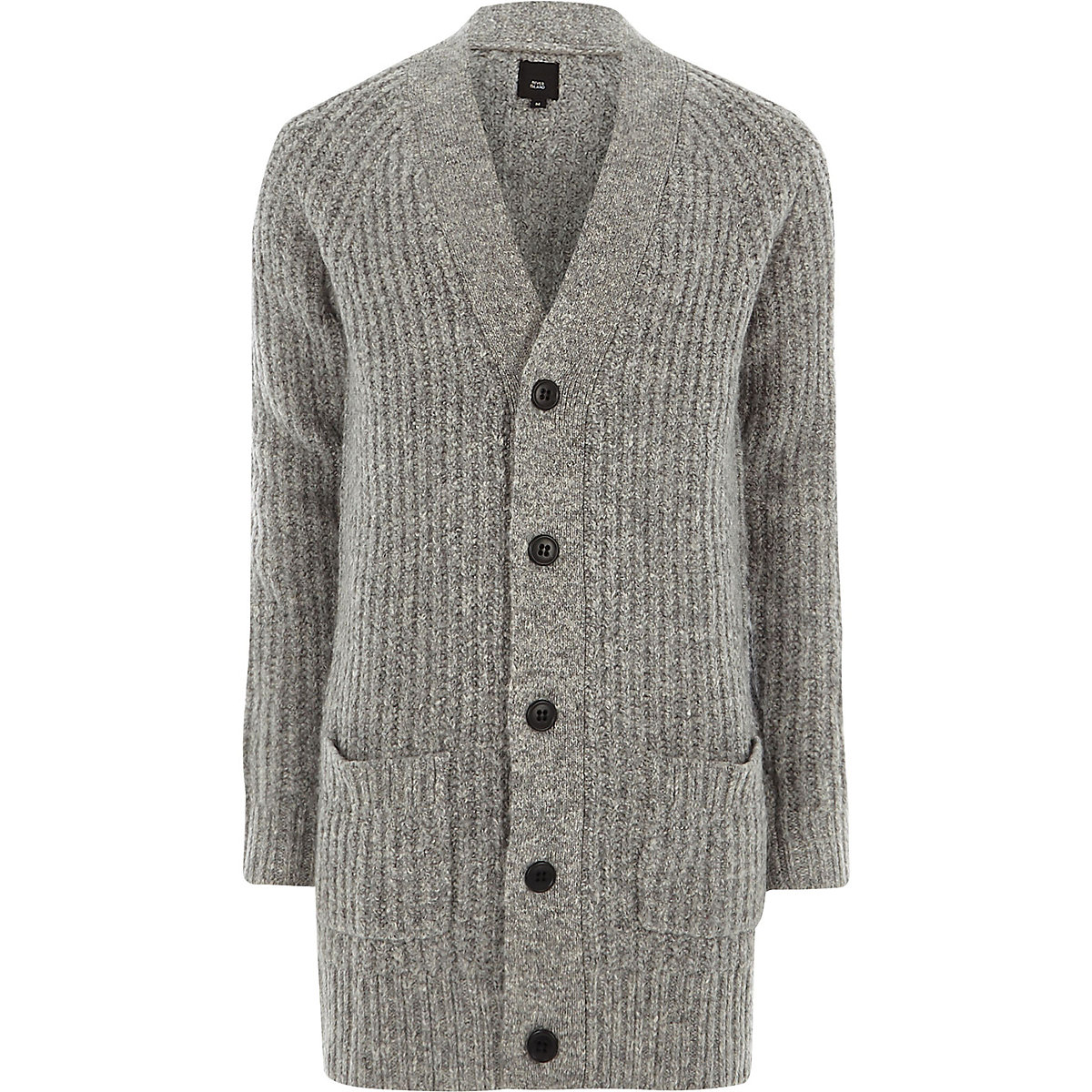 Grey long sleeve longline knit cardigan