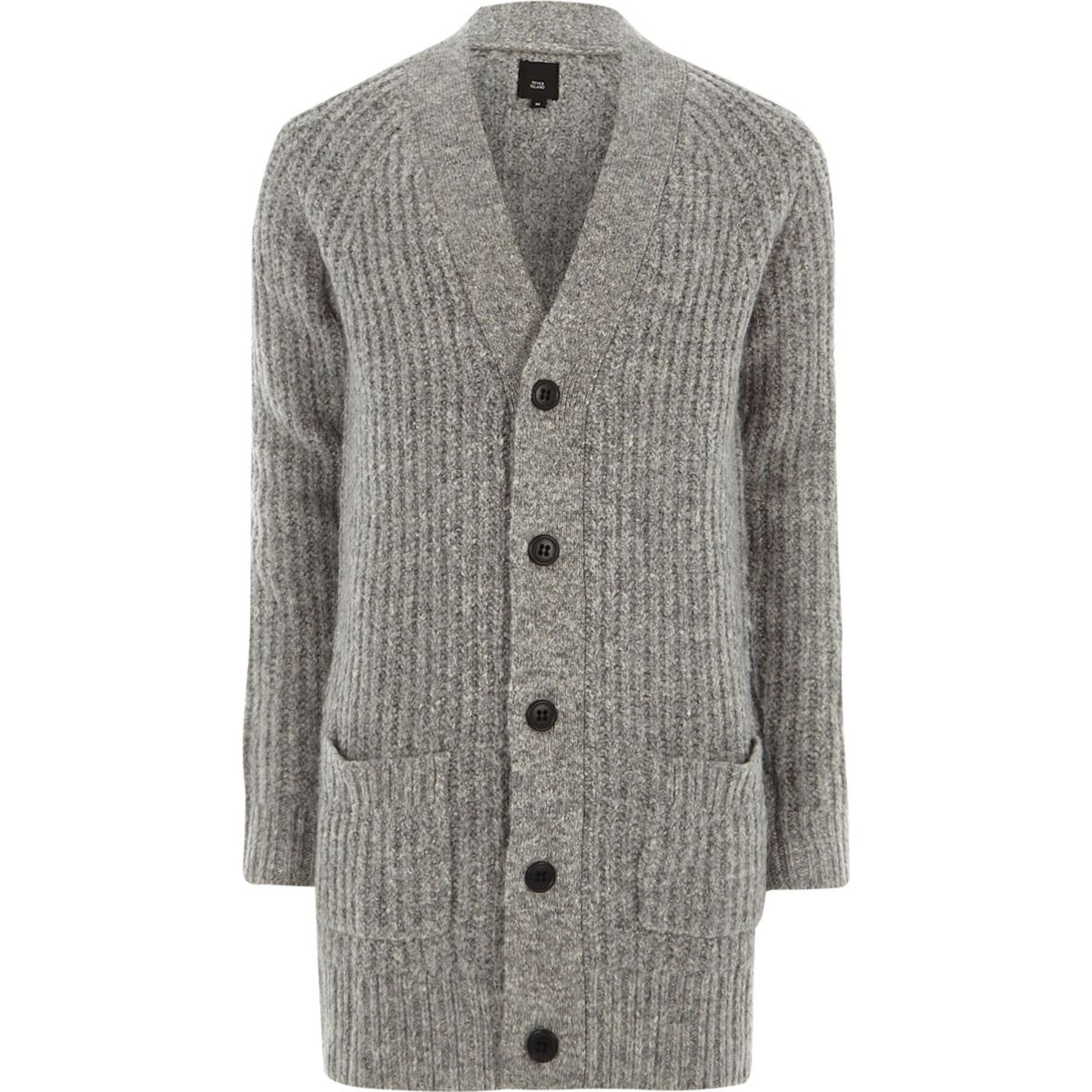 Grey long sleeve longline knit cardigan - Jumpers & Cardigans ...