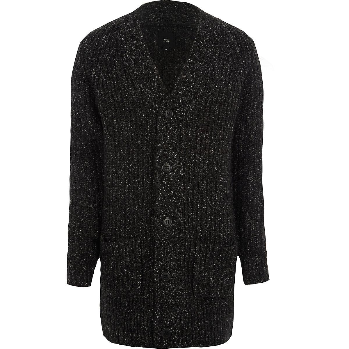 Black long sleeve longline knit cardigan
