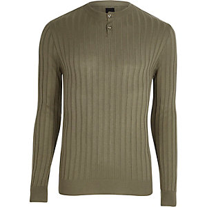Green rib knit long sleeve grandad top