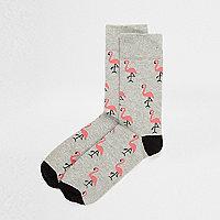 Socquettes motif flamant rose grises